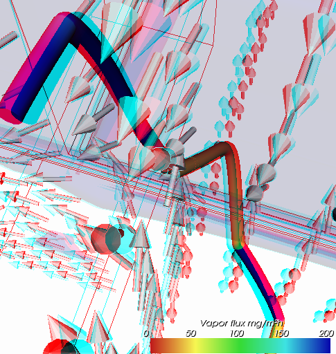Anaglyph stereo rendering of vapour diffusion stream during thermal bridge analysis (you need red/cyan glasses for immersive 3D viewing experience)